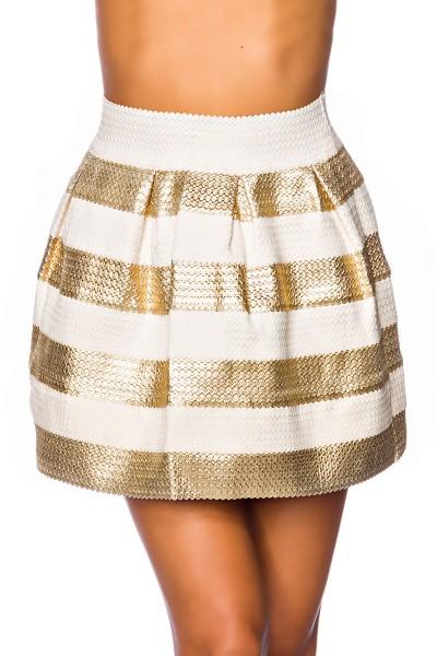 Beiger ausgestellter Minirock mit goldenen Streifen dehnbarer Sommerrock gestreift