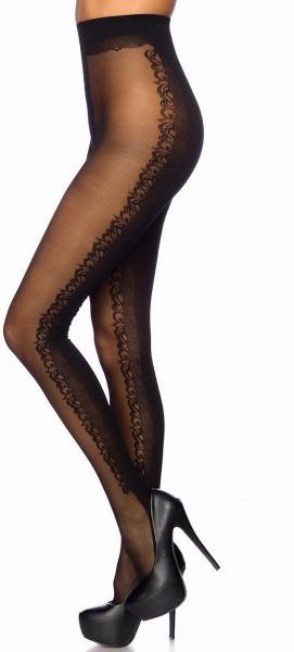 Schwarze transparente Damen Strumpfhose mit Blumenmuster und Kontrast im 10er Pack