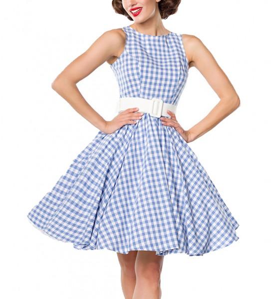 Blaues kurzes Swing Kleid im High Waist Schnitt mit Gürtel und Tellerrock weiß kariert und schulterf
