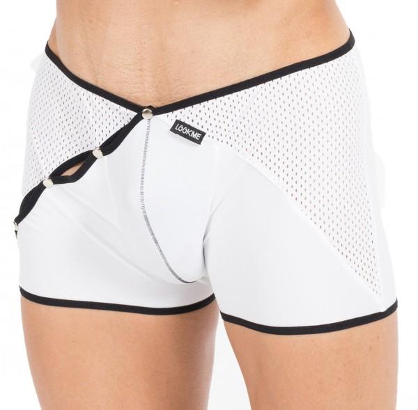 Weiß/schwarzer Herren Dessous Boxer Short mit Druckknöpfe Männer Slip weich elastisch