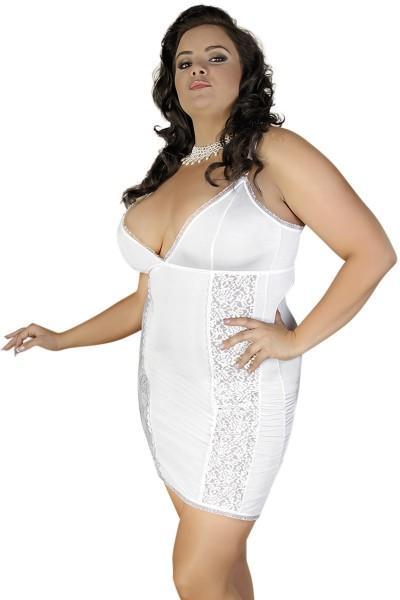 Weißes Dessous Chemise mit Spitze blickdicht Damen XXL Negligee Nachtkleid in ecru