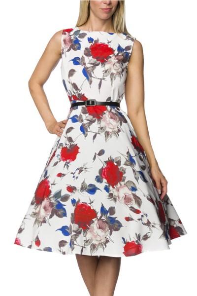 Weiß geblümtes Rockabilly retro Kleid mit Gürtel Damen vintage Sommerkleid knielang