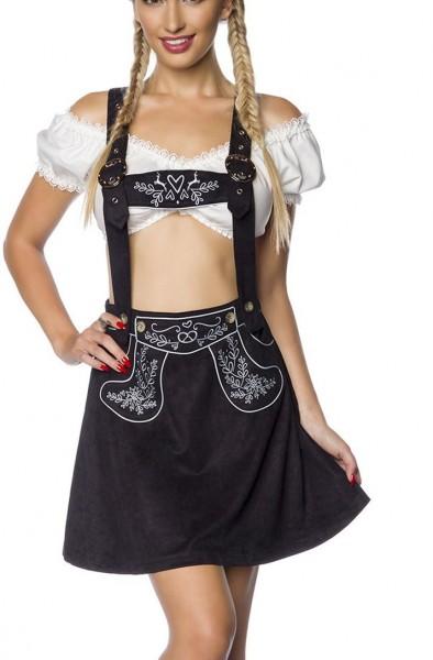 Damen Trachtenrock mit Hosenträgern und Stickereien Velourlsederoptik Bayrischer ausgestellt Latzroc