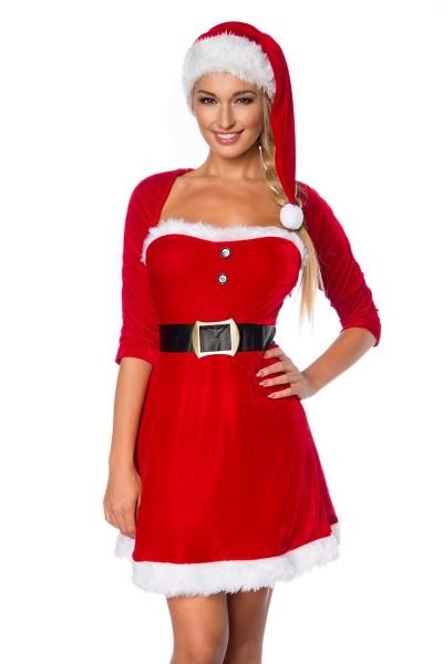 Damen sexy rotes Weihnachtsmann-Kostüm mit kurzem Kleid Mütze Petticoat und Bolero Roleplay Verkleid