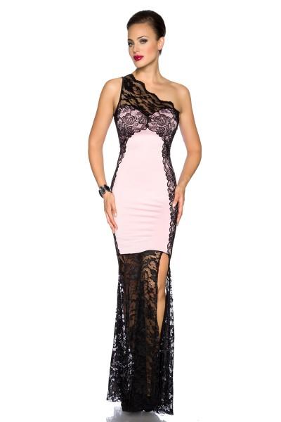 Langes rosa Abendkleid mit schwarzer Spitze und einem Träger asymmetrisch geschnitten Blumenmuster