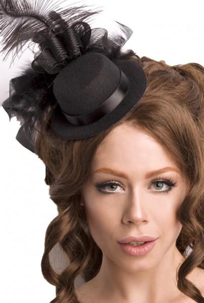 Schwarzer Damen Minihut Filzhut Trachtenhut mit Netz und Federn Abendmode Verkleidung Fascinator