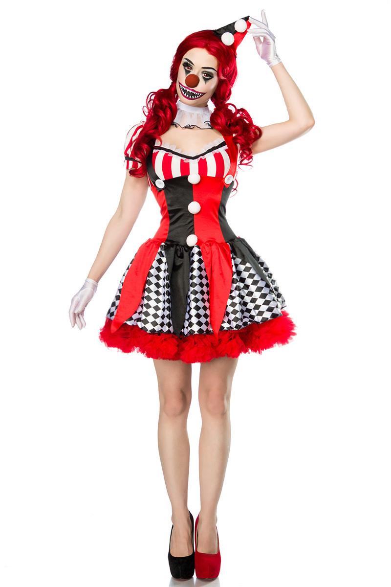 clown kost m damen halloween horror verkleidung horror clown kleid kost m halloween karneval. Black Bedroom Furniture Sets. Home Design Ideas