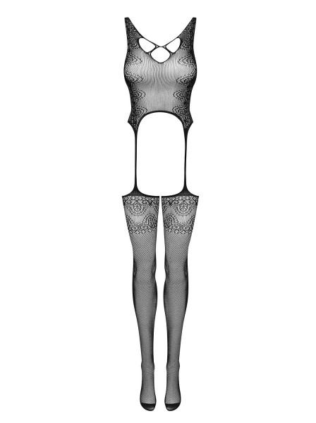 Damen Dessous Bodystocking erotisch transparent schwarz elastisch ouvert geblümt Straps Body OneSize