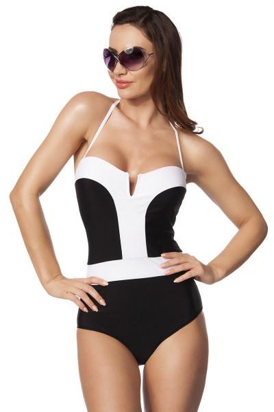 Damen Badeanzug mit Soft Cups Monokini in schwarz weiß Neckholder oder Bandeau