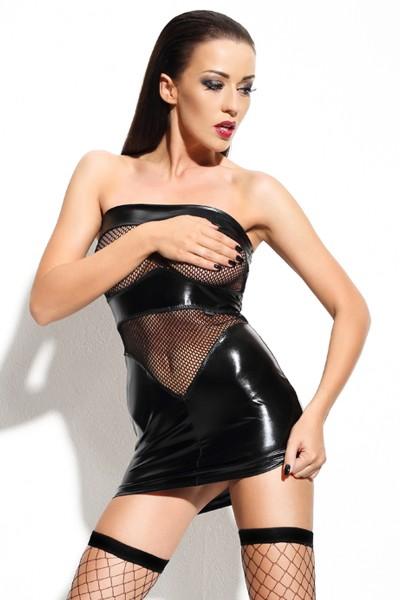 Schwarzes wetlook Minikleid mit transparentem Netzstoff erotisches Dessous Kleid mit T-String
