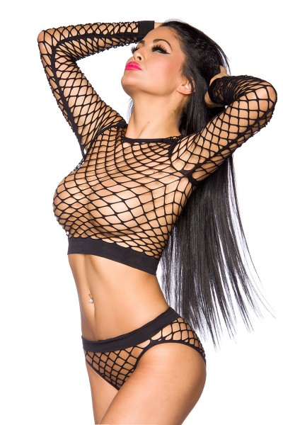 Schwarzes sexy Damen Netztop mit Netzslip transparent offen