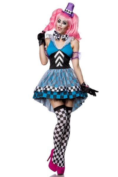 Damen Hutmacher Kostüm Verkleidung mit Karo Muster und Knöpfen mit Kleid, Hut, Fliege, Strümpfen und