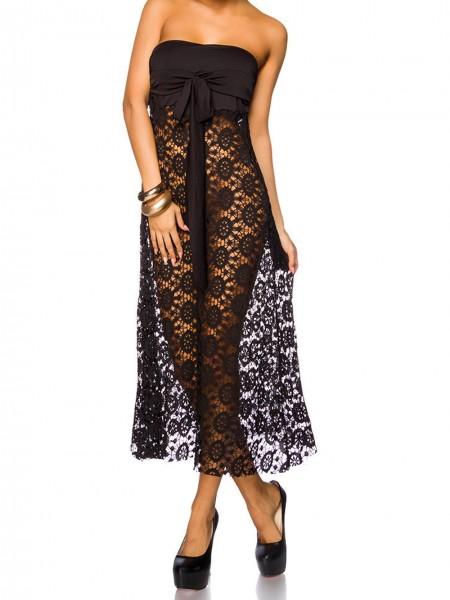 Damen Strandkleid in schwarz transparent lang trägerlos Sommerkleid luftig leicht OneSize S/M
