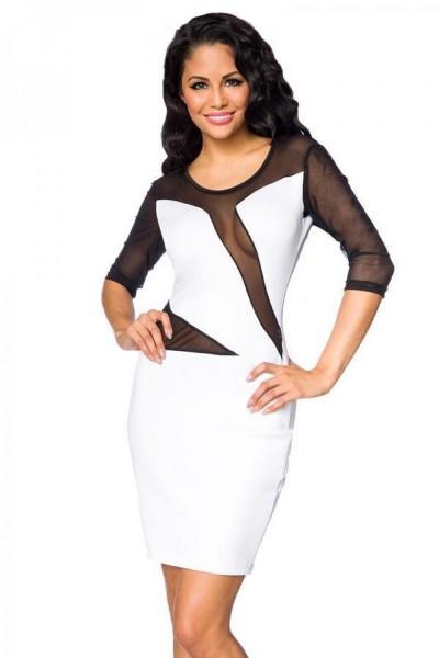 Netz Sommerkleid mit halblange Ärmel und tiefem Ausschnitt vorn und hinten asymmetrischer Netzaussch