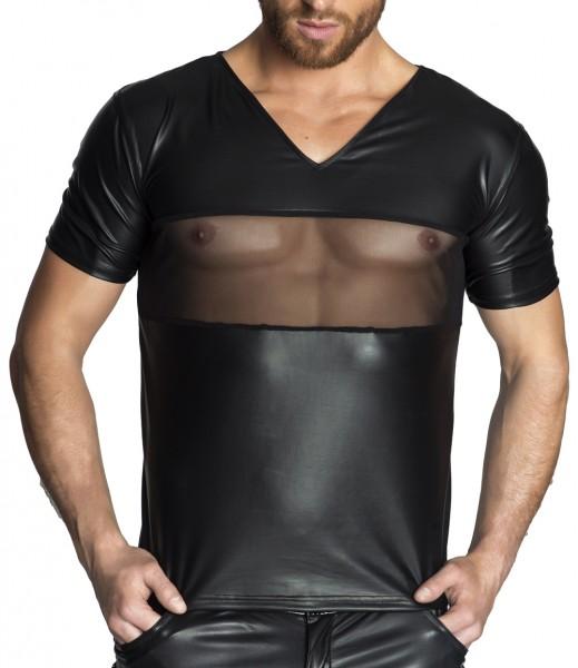 Schwarzes Herren Dessous wetlook T-Shirt teiltransparent Männer Shirt erotisch dehnbar