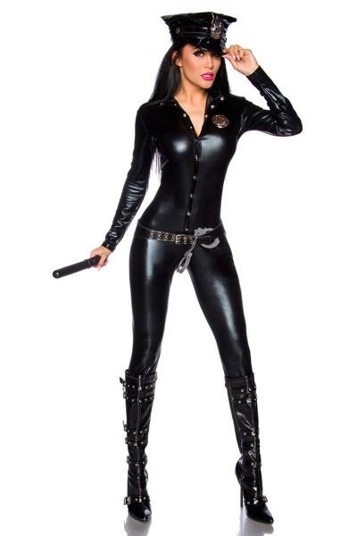 Schwarzes sexy Wetlook Polizei Kostüm Outfit für Damen Polizeifrau sexy Verkleidung
