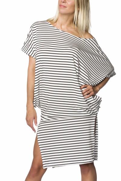 Oversize Kleid knielang mit Rockteil schwarz weiß gestreift und geschlitzt Sommerkleid luftig