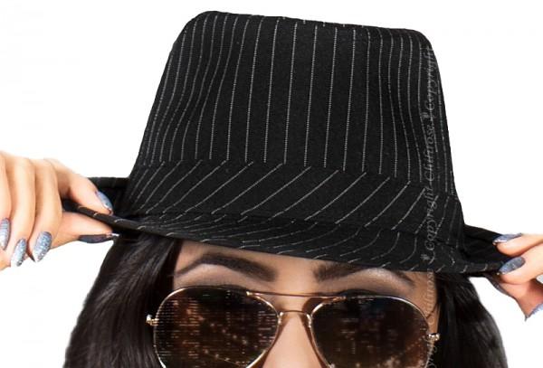 Schwarzer Damen Gangsterhut TRILBYHUT mit nadelstriefen schwarz weiß