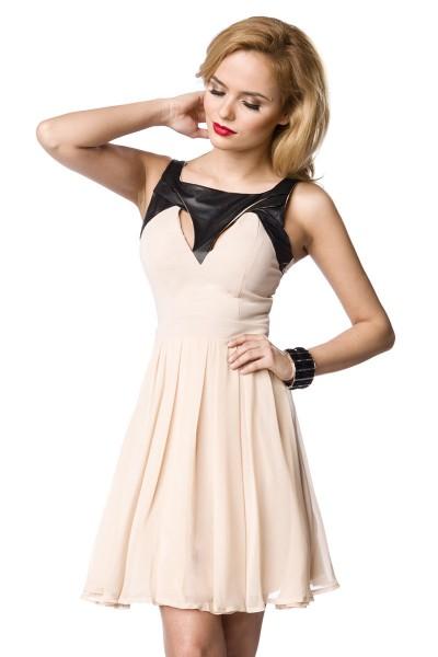Rosa Damen Partykleid Abendkleid mit schwarzem Kragen luftig knielang