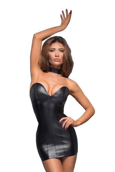 Damen Dessous wetlook Gogo Minikleid aus Kunstleder in schwarz mit Reißverschluss und Halsband