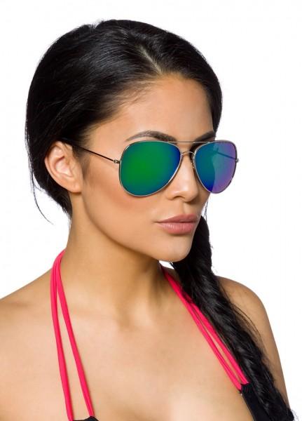Große Metalle Damen Flieger-Sonnenbrille mit farbigen verspiegelten und getönten Gläsern Vintage Son