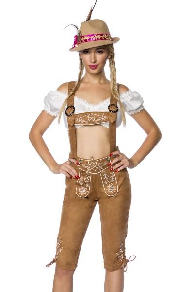 Braune Damen Trachtenkniebundhose mit Hosenträgern und Stickereien Velourlsederoptik Bayrische Latzk