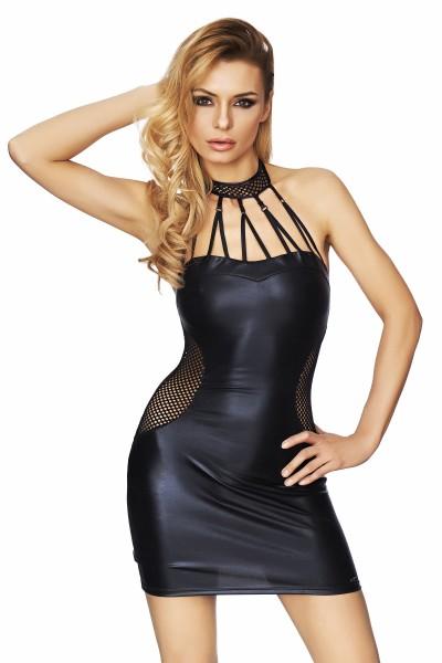 Damen Wetlook-Kleid Minikleid in schwarz dehnbar mit Netzeinsätzen Neckholder Kleid