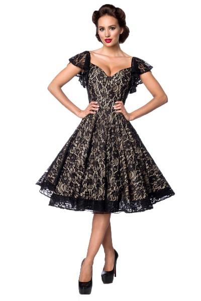 Schwarz creme farbenes knielanges Swing Kleid im High Waist Schnitt mit Spitze und Herzausschnitt Vo