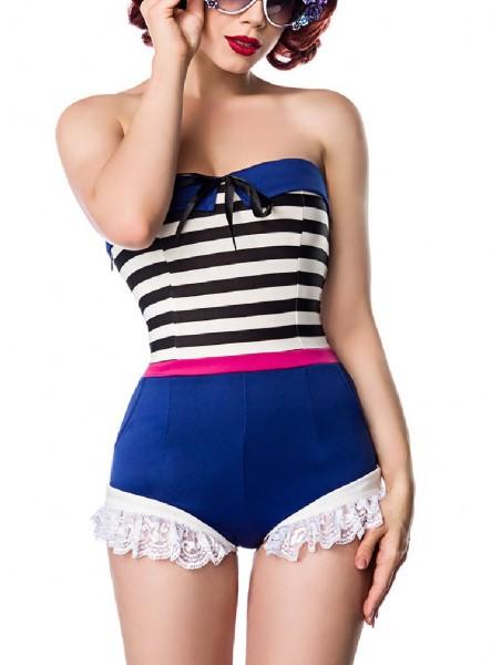 Kurzer blau weißer Damen Retro Body mit Rüschen aus Jersey Stoff mit seitlichen Eingriffstaschen