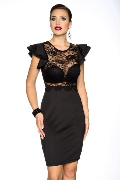 Schwarzes Retro Kleid mit Spitze und kurzen zweilagigen Ärmeln ohne BH Vintage