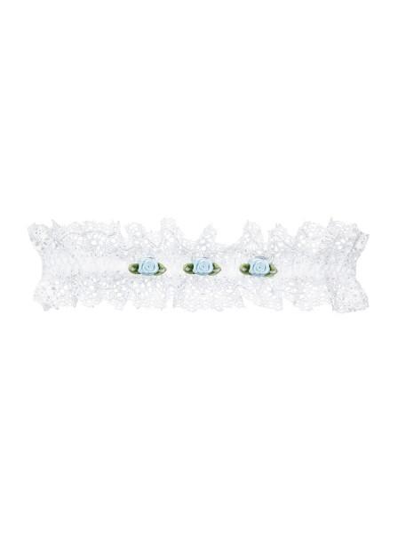 Weißes Strumpfband mit Spitze und 3 Rosen weich elastisch Hochzeit Größe S/M