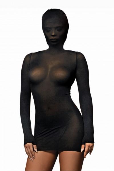 Fetisch Babydoll Dessous Body in schwarz mit Kapuze Chemise langärmlig OneSize S/M