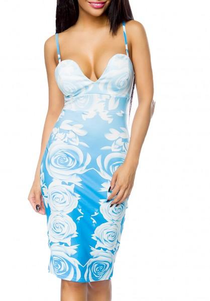 Blaues Sommerkleid mit weißen Rosen und tiefem Ausschnitt gepaddet