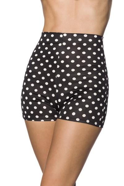 Schwarze enge Shorts mit weiße Punkten enge High Waist-hose mit Nahtreißverschluss Hotpants
