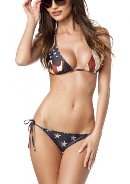 USA Flagge Neckholder Bikini zum binden Neckholder Triangel mit Fotoprint Totenkopf und Slip XS-L