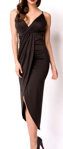 Kurzes schwarzes asymmetrisches Kleid in Wickeloptik mit Rückenausschnitt V-Ausschnitt gerafftes Roc