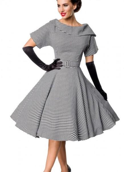 Retro Damen Swingkleid in grau mit weißen Hahnentrittmuster Vintagekleid mit kurzen Ärmeln und große