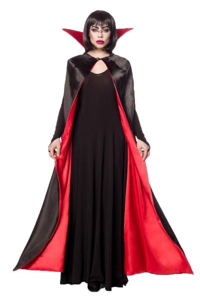 Damen Halloween dunkle Feen Teufel Kostüm aus Cape, Kleid, Kragen, Vampier-Kostüm in schwarz/rot One