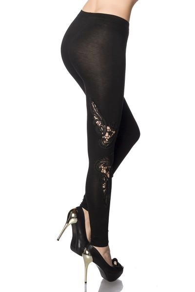 Schwarze lange Leggings mit Muster aus Spitze weich und dehnbar Modal Stoff