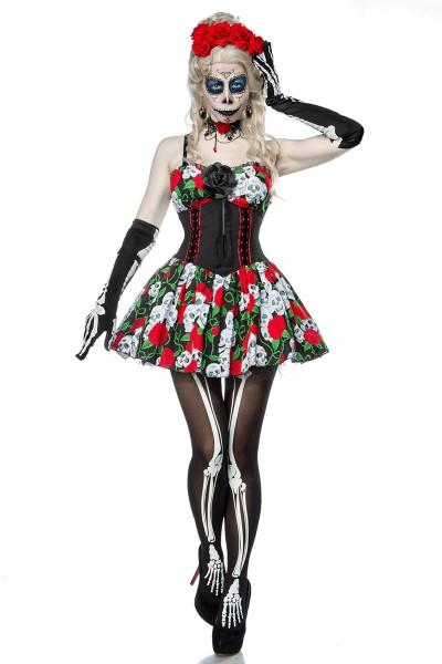 Damen Horror Skelett Geist Kostüm aus Kleid, Handschuhe, Halskette, Ohrringe, Haarreif, Strumpfhose