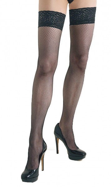 Damen Dessous halterlose Strümpfe aus Spitze in schwarz Stockings mit Silikonstreifen und Spitze