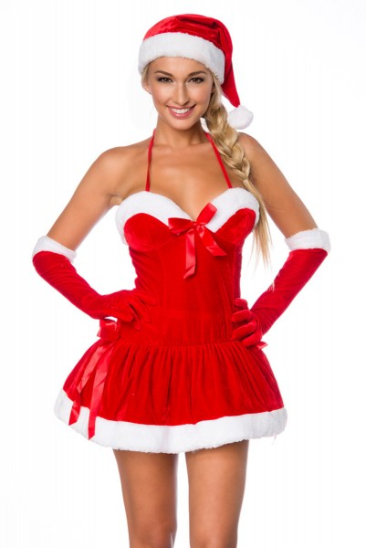 Damen sexy rotes Weihnachtsmann-Kostüm mit kurzem Kleid Mütze Handschuhe Roleplay Verkleidung