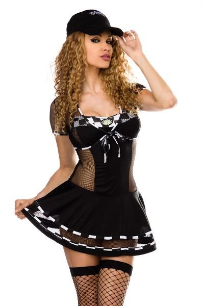 Damen sexy Wetlook Racegirl-Kostüm mit Kleid Bolero Mütze und String Roleplay Verkleidung