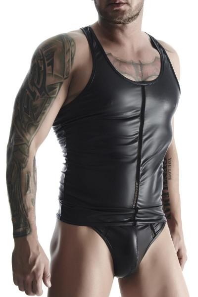 Herren Muscle Shirt schwarz aus wetlook Material mit Netzeinsatz Muskel Träger Hemd dehnbar blickdic