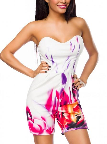 Weißer kurzer Damen Overall mit buntem Print und Herzausschnitt Soft Cups eingenäht