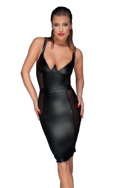 Schwarzes erotisches Damen Dessous wetlook Pencil-Kleid mit Bügel BH und Reißverschluss Gogo Kleid