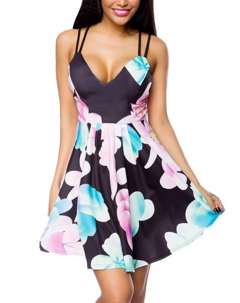 Schwarzes Sommerkleid mit buntem Blumenmuster Push Up Kleid ausgestellt