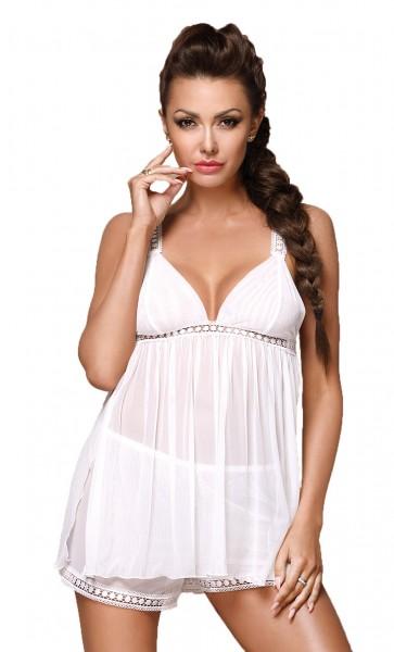 Weißes erotisches Damen Dessous Set Chemise Mini-Kleid Top transparent dehnbar mit Panty