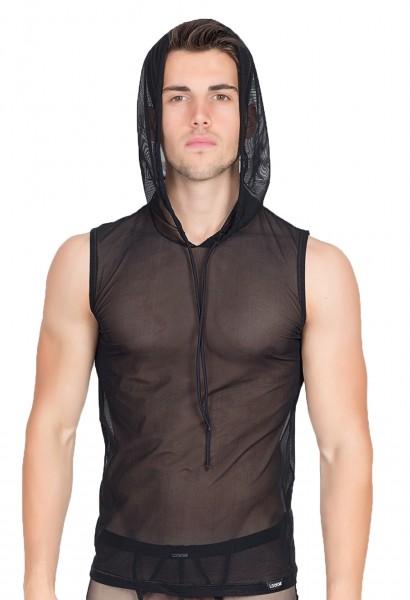 Transparentes schwarzes Herren V-Shirt mit Kapuze aus Tüll Sommer-Hemd luftig elastisch