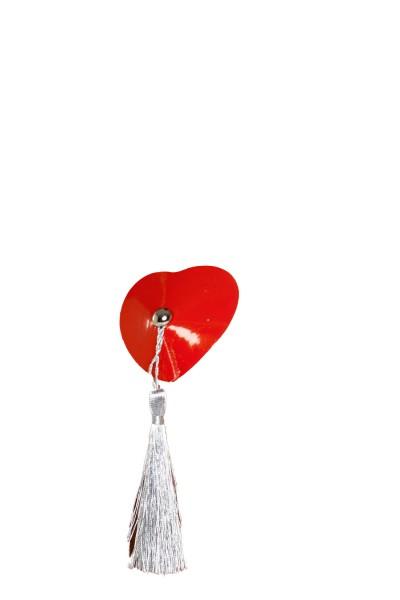 Rote Nipples Cover Herz mit Fransen und Lack Material 2 Stück